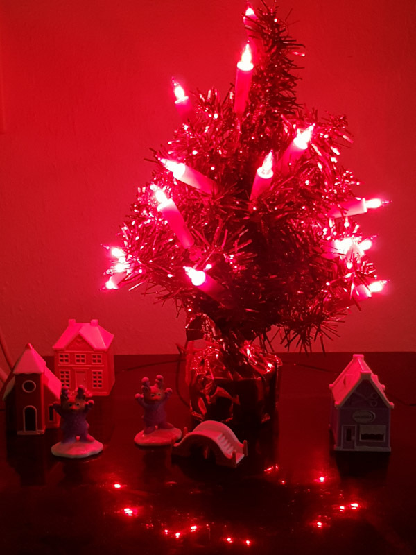 Tiny red plastic Christmas tree with  lights and a few miniature houses and figurines. This year I couldn't be bothered to wipe the dust off first from the record player it's placed on.